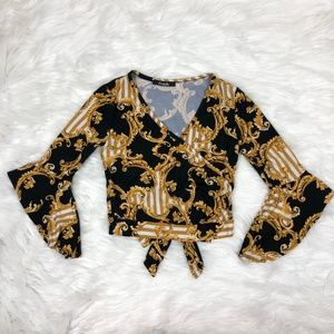 Black with Gold Pattern Wrap Crop-Top